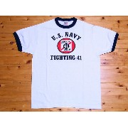 Buzz Rickson's[バズリクソンズ] Tシャツ リンガー U.S.NAVY VF-41 BLACK ACES BR76576 (WHITE)