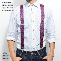 MITCHUMM(ミッチュム)SS'14SUSPENDERSRED and PURPLE PISLEY on NAVY BLUEペイズリー柄サスペンダー
