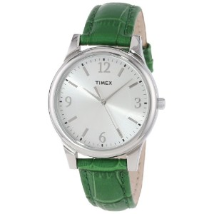 Timex タイメックス レディース腕時計 Women's T2P092TN Dark Green Croco Patterned Leather Strap Dress Watch