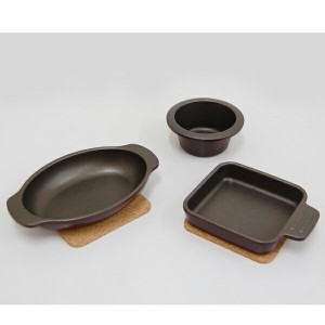 UMIC assiette(アシット)toaster & oven cookware3点セットコルクマット付 マロンレッド