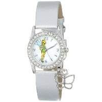 Disney ディズニー ティンカーベル レディース腕時計 Women's TK1032 Tinkerbell White Dial Silver Metallic Strap Watch