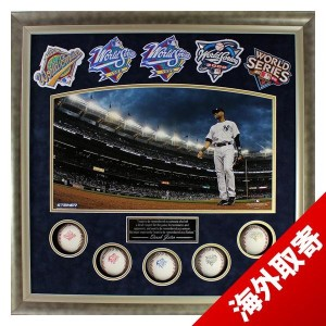 お取り寄せ MLB ヤンキース デレク・ジーター Sports Derek Jeter Framed 24x24 World Series Titles Collage w/ 5 Baseballs...