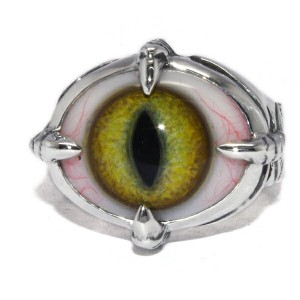 CRAZY PIG DESIGNS(クレイジーピッグ) FOR CRAW EYE CATS EYE YELLOW RING #4 人気ブランド 義眼リング