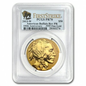 2013年 -W 1 oz バッファロー金貨 Reverse Proof Gold Buffalo PR-70 PCGS First Strike