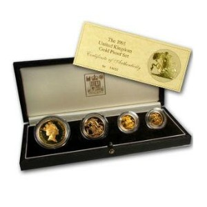 Great Britain 1985 4 Coin Gold Proof Set