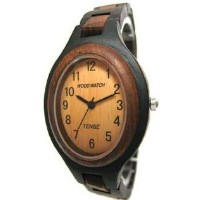 テンス 時計 腕時計 木製 Tense Wood Watch - Natural Solid Hypoallergenic Dark Sandalwood Bracelet Watch L7301DS
