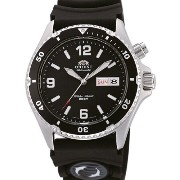 オリエント 時計 腕時計 Orient Mako Black Dial Automatic Dive Watch with Rubber Dive Strap EM65004B