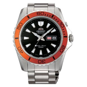 オリエント 時計 メンズ 腕時計 Orient FEM75004B Men's Mako XL Stainless Steel Orange Bezel Black Dial Automatic...