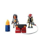 プレイモービル 5943 消防士とポンプ Playmobil 5943 Deluxe Firefighters Set with Flaming Barrel