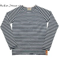Nudie Jeans co/ヌーディージーンズOTTO RAGLAN SLEEVEORG. SOLID STRIPE長袖、ラグランボーダーカットソーWHITE×NAVY(ホワイト...