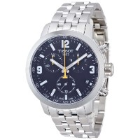 ティソ 腕時計 メンズ 時計 Tissot PRC 200 Chronograph Black Dial Stainless Steel Mens Watch T0554171105700