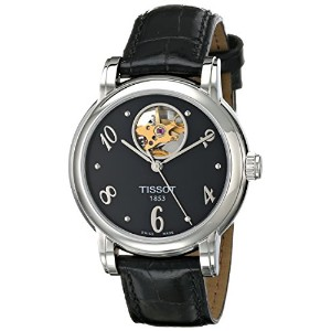 ティソ 腕時計 レディース 時計 Tissot Women's T0502071605700 Heart Automatic Black Open Dial Watch