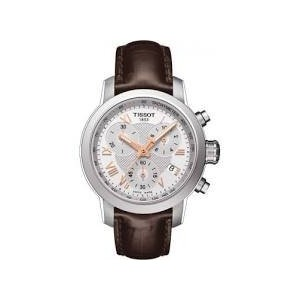 ティソ 腕時計 レディース 時計 Tissot PRC200 Chronograph Silver Dial Brown Leather Ladies Watch T0552171603302