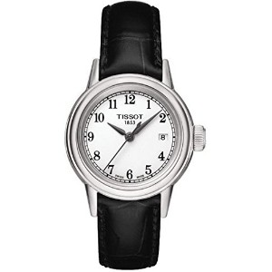 ティソ 腕時計 レディース 時計 Tissot Carson White Dial Black Leather Ladies Watch T0852101601200