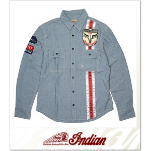 INDIAN MOTOCYCLE DUNGAREE WAPPEN SHIRT (LS:SHIRT)(I-3243-61-BL)