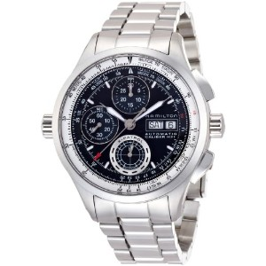 ハミルトン メンズ 腕時計 Hamilton Men's H76556131 Silver Stainless-Steel Swiss Automatic Watch with Black Dial