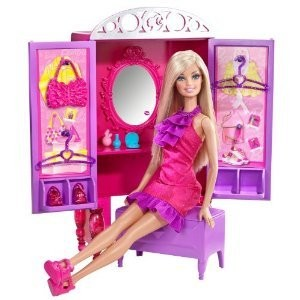 Barbie バービー Dress-Up To Make-Up Closet and Barbie バービー Doll ドール Set