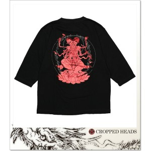 CROPPED HEADS ドクロ菩薩柄六分袖T (LS:TEE)(911-87BK×RE)