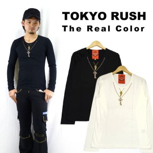 TOKYO RUSH The Real Color ラメプリント長袖 Tシャツ