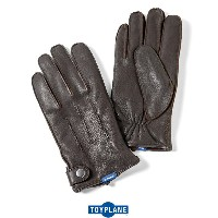 """【TOY PLANE】トイプレーン/ """"LEATHER GLOVE""""レザー グローブ 手袋 防寒具 本革【バイク】【メンズ】(D.BROWN)"""