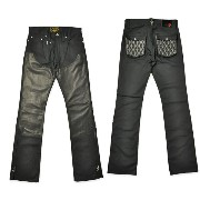 "【SKULL FLIGHT スカルフライト】ボトム/SS PANTS type2 ""STRETCH QUILTING LEATHER POCKET & W KNEE"" (ブーツカット) ★送料・代..."