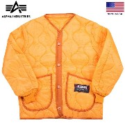 [M-65] ALPHA INDUSTRIES アルファインダストリーズ MADE IN U.S.A M-65ジャケット用ライナー #1 オレンジ ALPHA INDUSTRIES M-65 アルファ...