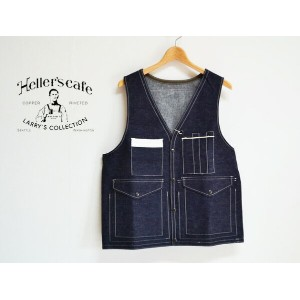 HELLER'S CAFE ヘラーズカフェ 1940's Bag-pocket Hunting Vest INDIGO DENIM デニムベスト