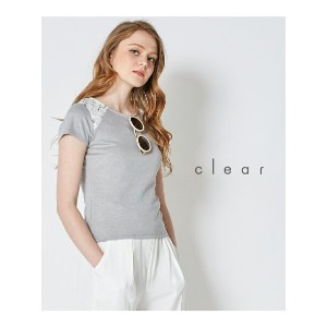 【SALE/32%OFF】clear 肩レース半袖カットソートップス クリア カットソー【RBA_S】【RBA_E】