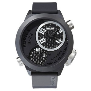 Welder by U-Boat ウェルダー Uボート メンズ腕時計 K32 Oversize Triple Time Zone Black Ion-Plated Steel Mens Watch...