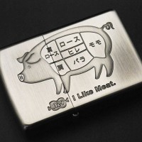 ZIPPO ユニーク≪I Like Meat. Pig 1129 アイ ライク ミート ブタ Ni ニッケル古美 アンティークニッケル 豚≫豚肉 部位/肩ロース/ロース/ヒレ/肩/バラ/モモ...