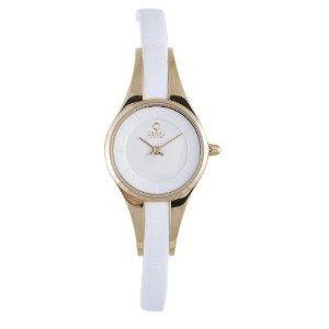 オバック レディース 腕時計 Obaku By Ingersoll Ladies Gold Case White Leather Strap Watch V110LGIRW