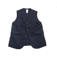 【期間限定30%OFF!】 POST OVERALLS(ポストオーバーオールズ)/#1512 ROYAL TRAVELER HI-COUNT POPLIN QUILTING VEST/navy