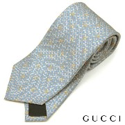 GUCCI(グッチ)/ネクタイ/金具柄/ライトブルー/チェーン/シルク100%【20P01Oct16】