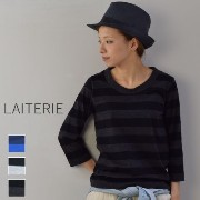 ●●LAITERIE(レイトリー) ふわふわ天竺 ボーダー七分袖 Tシャツ 3colormade in Japanpct-9a-1-c