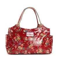 Cath Kidston443142キャスキッドソン トートバッグオイルクロス×キャンバスコットンレザーRED×KINGSWOOD ROSE