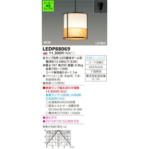 LEDP88069 (推奨ランプセット) ◆東芝ライテック 照明器具 和風照明 LED小型ペンダントライト フランジタイプ 非調光