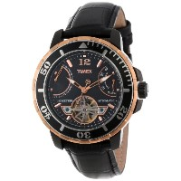 """Timex タイメックス メンズ腕時計 Men's T2M9316K """"SL Series"""" Rose Gold-Tone Stainless Steel and Black Leather..."""