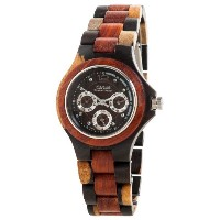 テンス 時計 メンズ 腕時計 木製 Tense Triple Window Mens Inlaid Dark w Maple Wood Watch G4300IDM ANDF