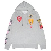 CROOKS&CASTLES BADGES ZIP UP HOODY (GRAY)