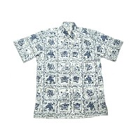 REYN SPOONER(レインスプーナー)GOLD LABEL/#125 FULL OPEN B.D. ALOHA SHIRTS LAHAINA SAILOR/white x navy