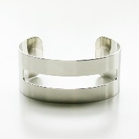 "【a.v.max/エーヴィーマックス】cut out cuff 1"" imitation rhodium plated brass"