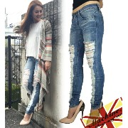 [MACHINE JEANS/マシーンジーンズ]HEAVY DESTROYED SKINNY JEANS 532P17Sep16