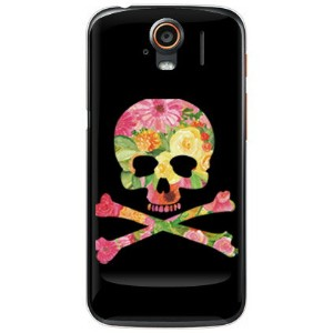 【送料無料】 Flower skull ブラック (クリア) design by ROTM / for STREAM 201HW/SoftBank 【SECOND SKIN】201hw...