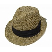 NEW YORK HAT(ニューヨークハット) 麦わら帽子 ストローハット #7014 SEA GRASS FEDORA w/ Band, Natural