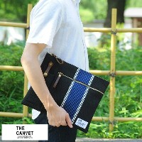 THE CANVET 刺し子クラッチバッグ Fujioka Carry Pouch /男性用 メンズ/バッグインバッグ/日本製/A4/コットン/和風/鞄 か...
