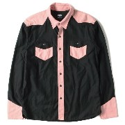 RATS(ラッツ) 14A/W 2トーンウエスタンシャツ(TWO TONE WESTERN SHIRTS) 美品 ブラック×ピンク M 【K1296】【中古】