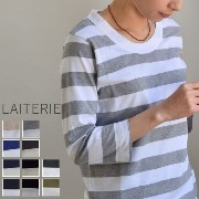 ●●LAITERIE(レイトリー) ふわふわ天竺 ボーダークルーネック 七分 T 12colormade in Japanpct-9a-h