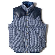 ★SALE 10%OFF★ WAREHOUSE ウエアハウス × Rocky Mountain Feather Bed ロッキー マウンテン WH CHECK DOWN VEST INDIDO/NAVY チェック...