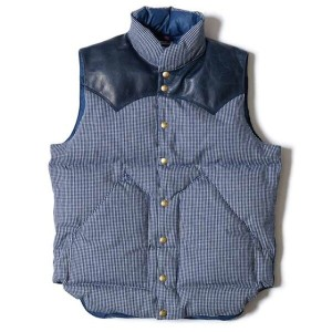 ★SALE 30%OFF★ WAREHOUSE ウエアハウス × Rocky Mountain Feather Bed ロッキー マウンテン WH CHECK DOWN VEST INDIDO...