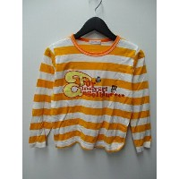 ANGEL BLUE Tシャツ カットソー 長袖 ボーダー 文字 プリント 140 オレンジ 白 キッズ 【ベクトル 古着】【中古】 160918